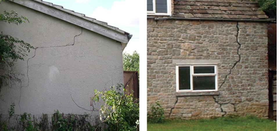 diagonal crack on outside wall