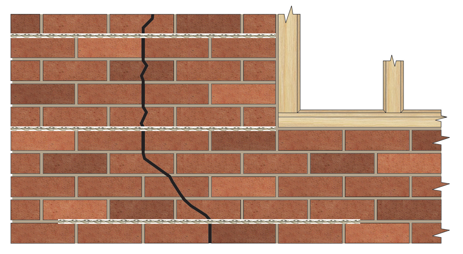 Cracked brick wall drawing brick wall - Repairing Cracks Near Corners Openings